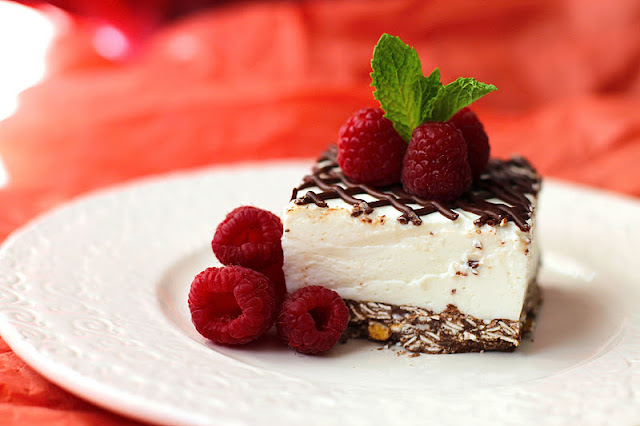 Healthy Coconut Mousse Cheesecake Bars - Desserts with Benefits