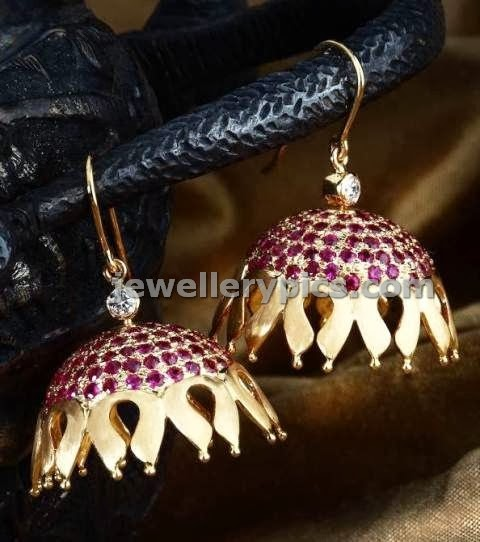 fancy gold designer jhumka