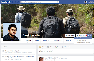 View As Option on Facebook Profile