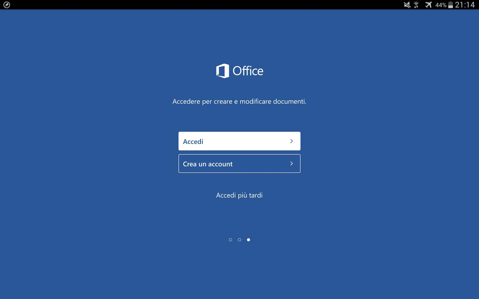 schermata di login/registrazione nei servizi Microsoft in word per tablet