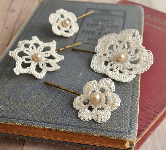 Crochet Hair For Wedding : ... para Novias y muchas cosas mas: Apliques para cabello Novia en Crochet