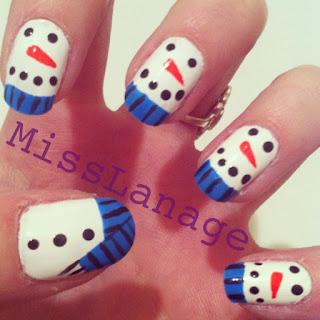 snowmen nail art designs