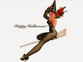 Happy Halloween Pinup Girl Art