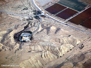 Qumran aerial from west, tb010703337 bibleplaces
