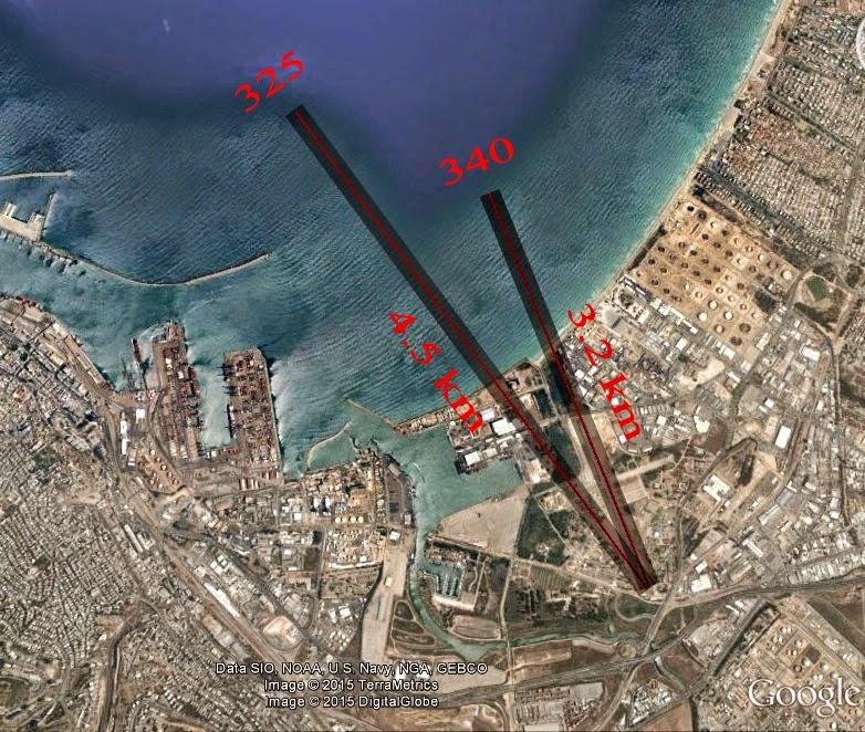 מתווה לשני מסלולים בצורת V למטוסי ענק במפרץ