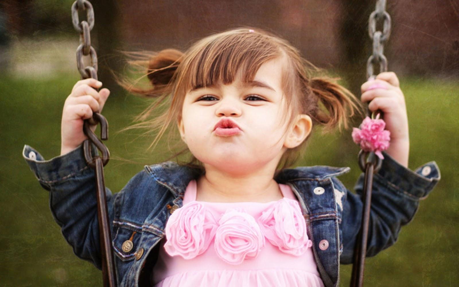 cute little baby girl swing and kiss hd wallpaper | cute little babies