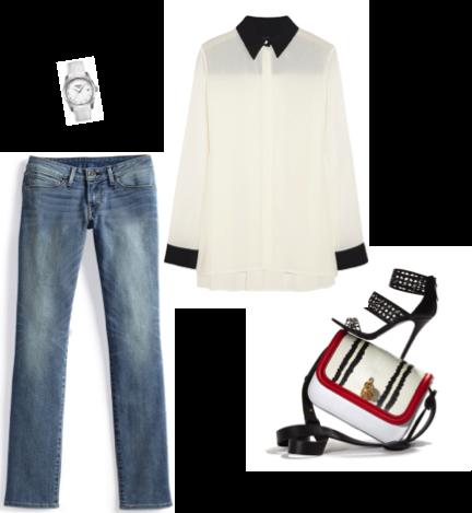 VipandSmart Look jeans con blusa blanca