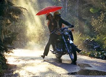 Motorcyclists in the rain
