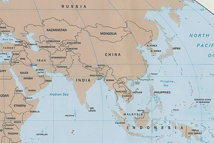 A World Of Information List Of Contries Of Continent Asia - What continent is afghanistan in