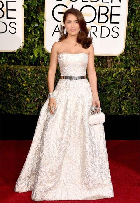Селма Хайек в рокля Alexander McQueen на наградите Златен глобус 2015