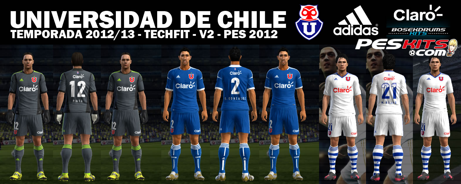 Kits Universidad de Chile 2012 v2 Techfit by Bosekdrums