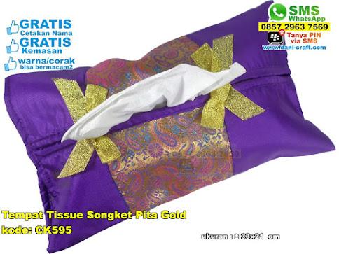 Tempat Tissue Songket Pita Gold