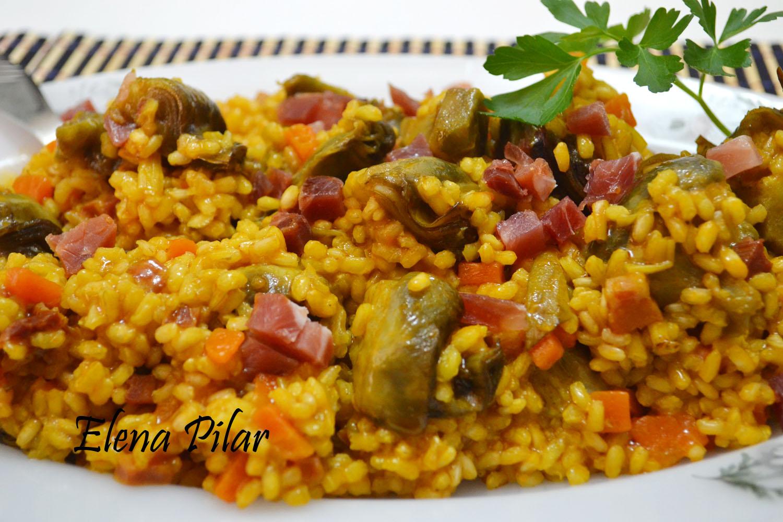 Mi recetario por elena pilar arroz integral con - Arroz con alcachofas y jamon ...