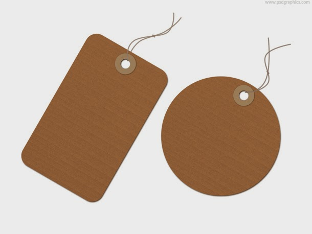 Brown Recycled Paper Tag PSD