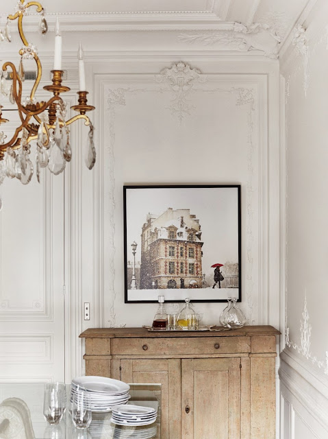 Inside a Paris apartment with decorative wall moldings