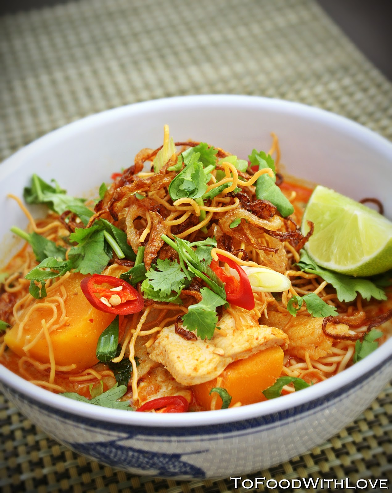 "... Thai Red Curry Noodles with Chicken and Pumpkin (""Chiang Mai Noodles"