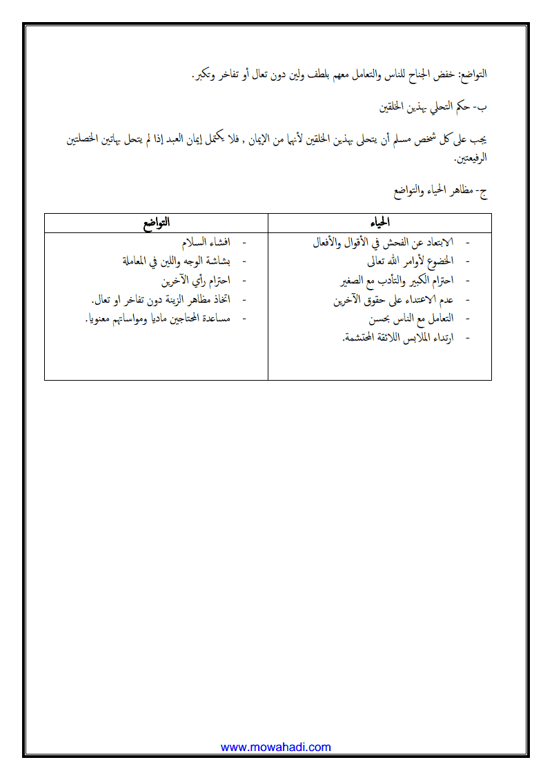 عناية الاسلام بجمال النفس( الحياء و التواضع )