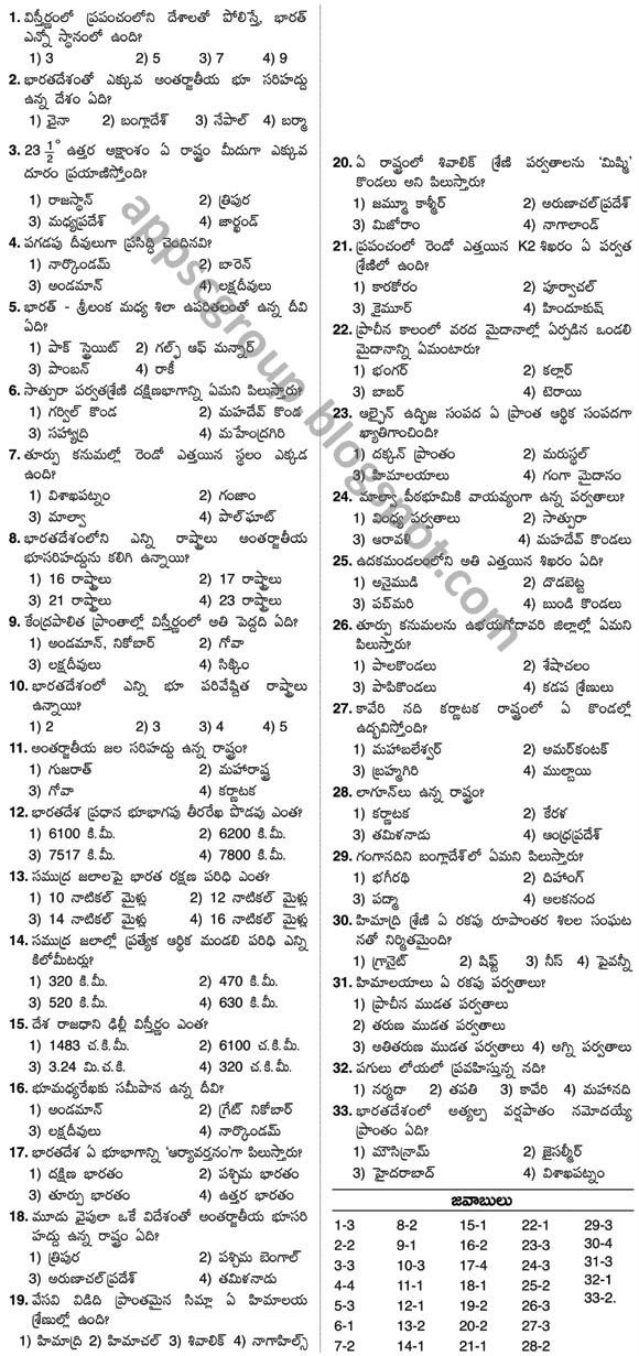 Indian Geography bits for appsc exams and bank po civil services exams in telugu medium