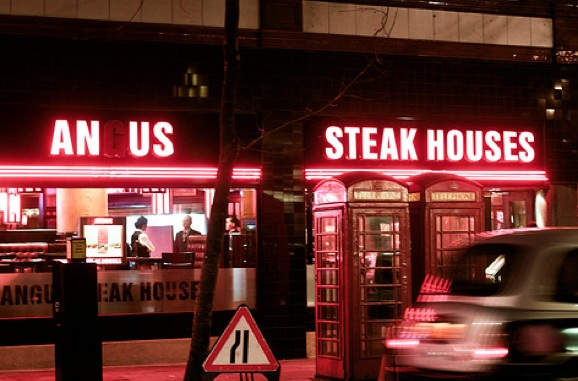 angus steakhouses neon sign fail