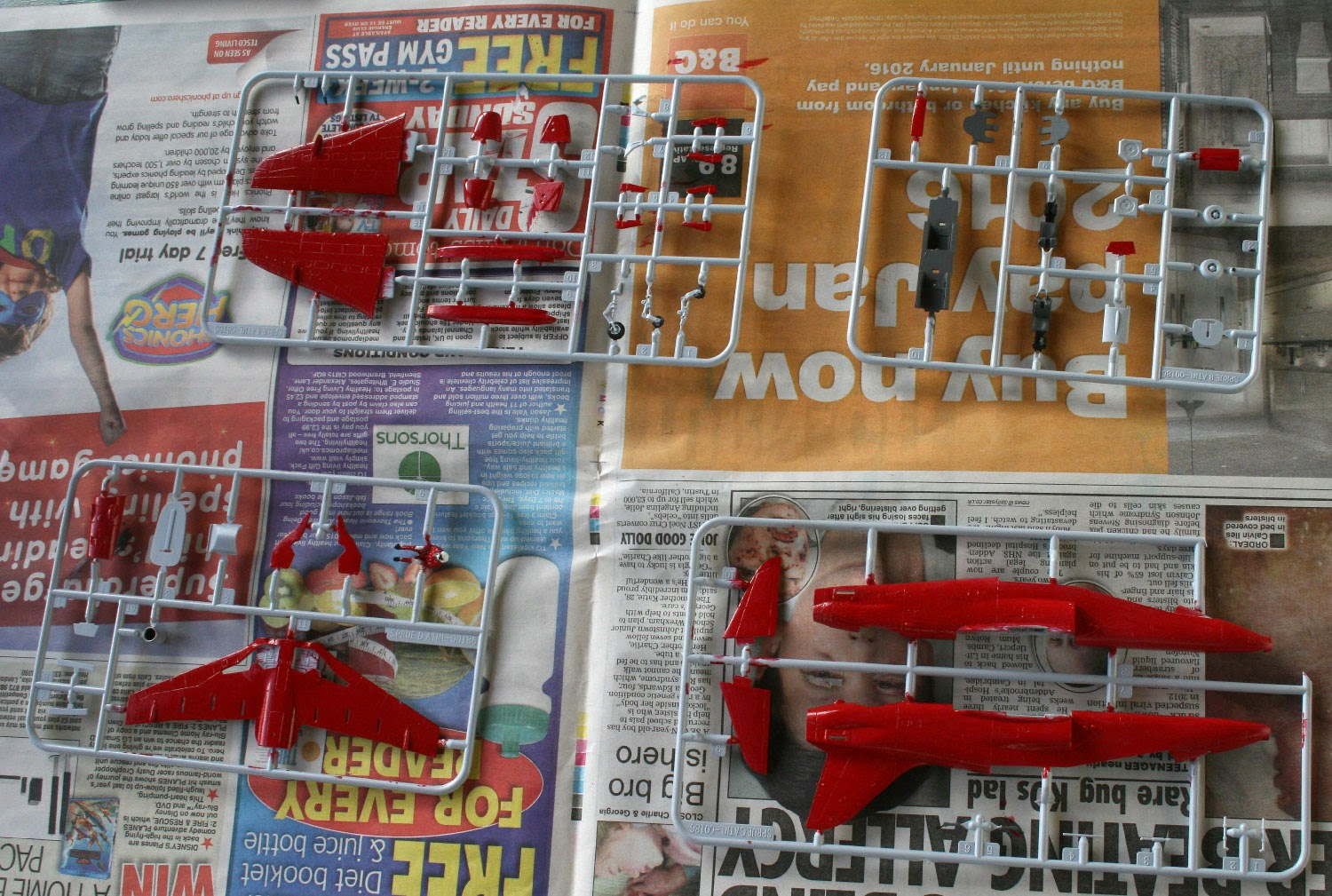 Painting the parts on the sprue