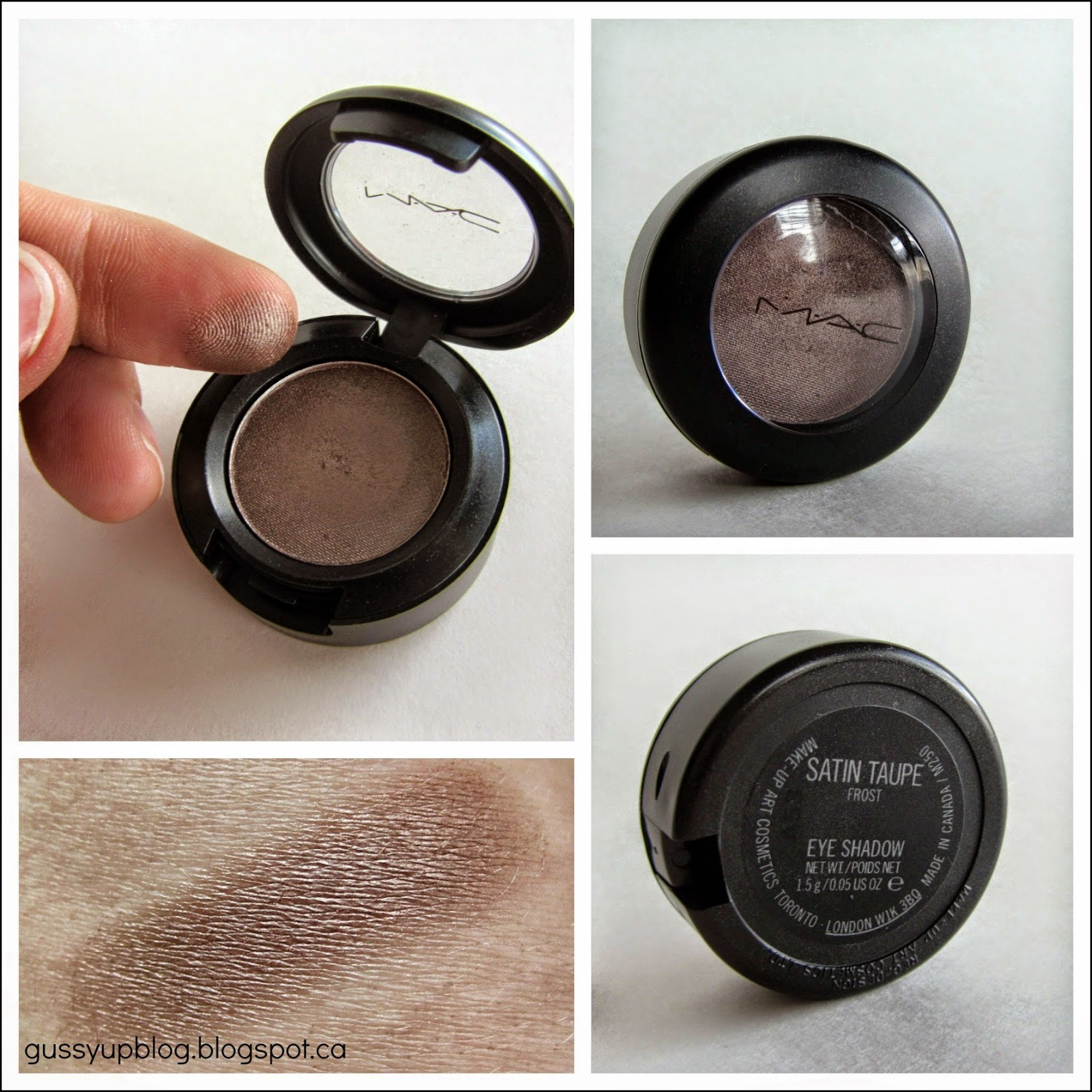 MAC Eyeshadow, Satin Taupe, Frost, Review and Swatch