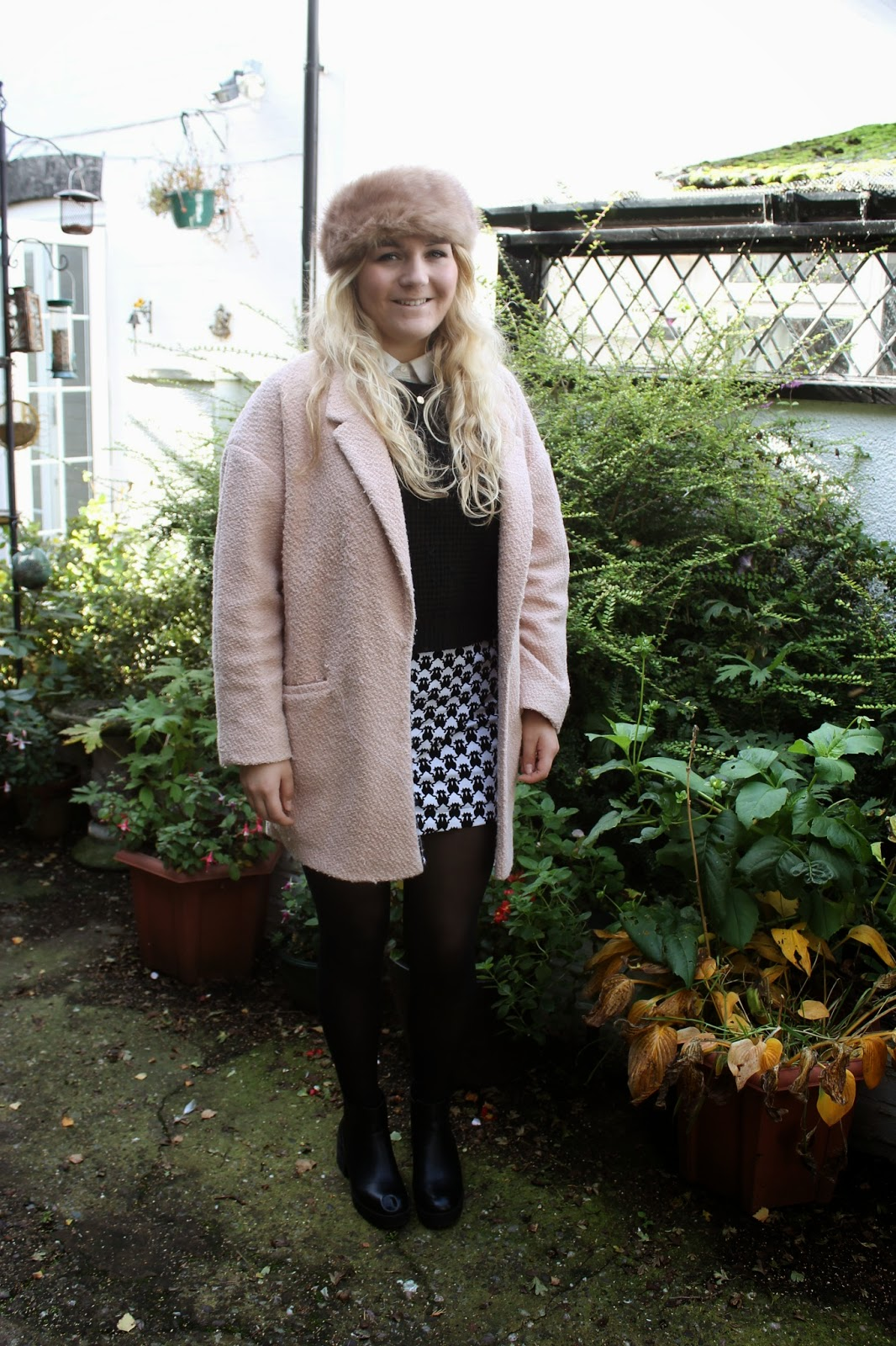 Primark Pink Coat and Fur Hat