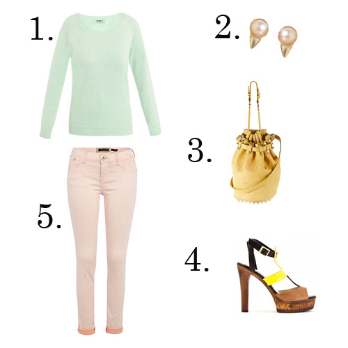 Outfit with mint green sweater, pale pink pants, pearl earrings, a yellow purse and T-strap heels with a wooden platform and a yellow center strap