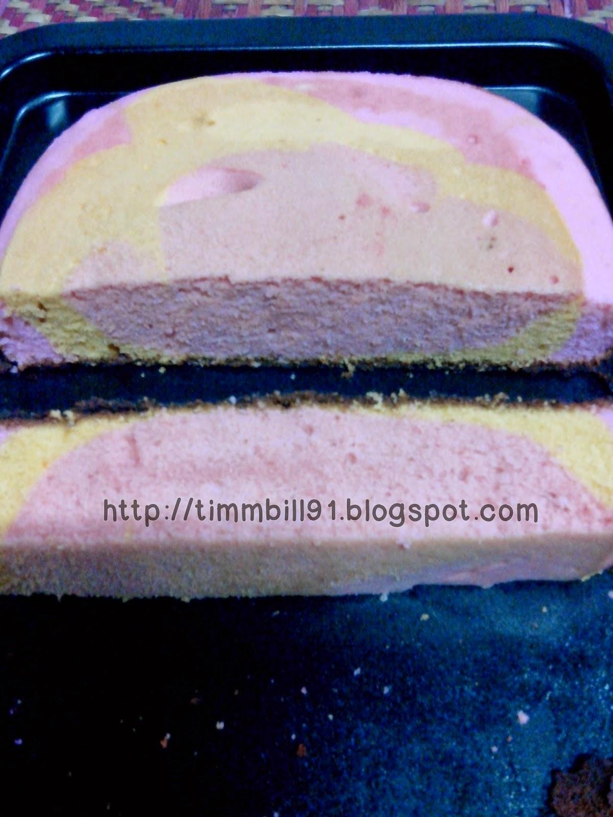 kek simple, kek pelangi, pemanggang ajaib