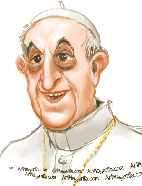 Pope Francis is a caricature by Artmagenta