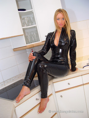 Sexy Blonde Lauren in Black Latex Catsuit