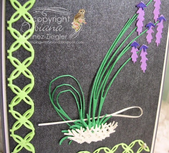 detail  ikebana card using Memory Box Dies