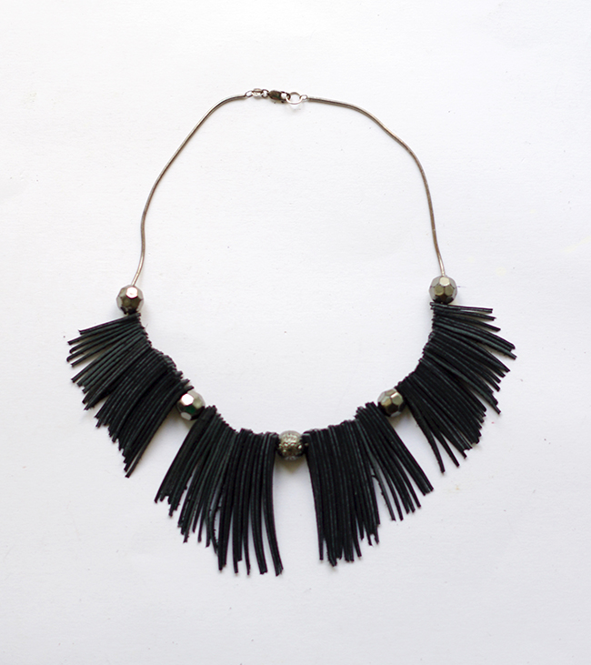 DIY Leather Fringe Statement Necklace {via www.fashionrolla.com}
