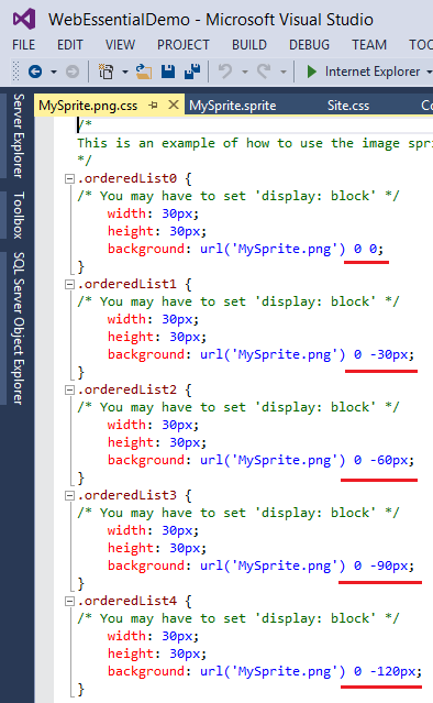 If You Open Mysprite Png Css File You Will See Normal Css Codes That We Can Copy It To Use In Our Original Style File Site Css Here Is The Screenshot Of