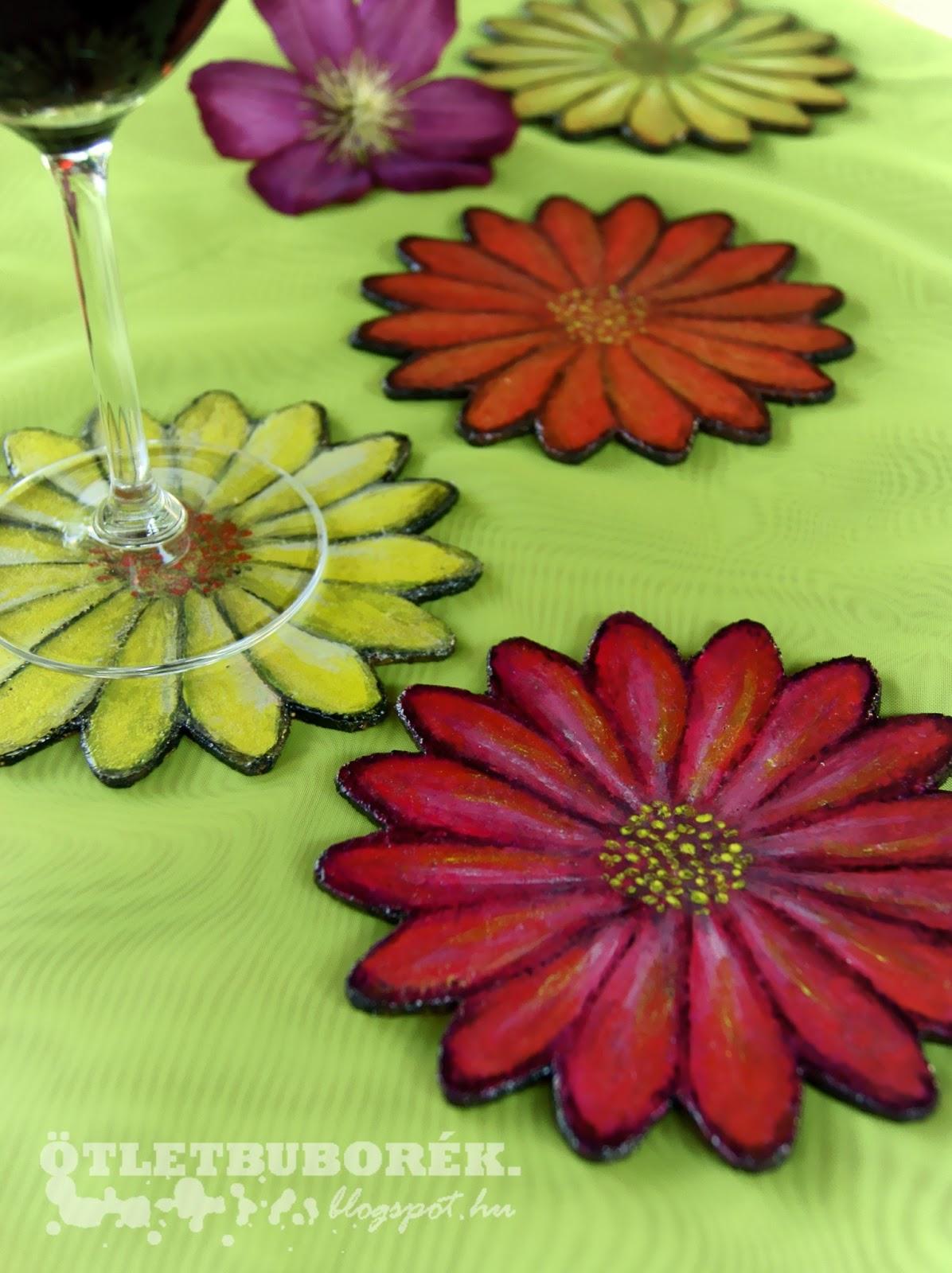 parafa virág poháralátét