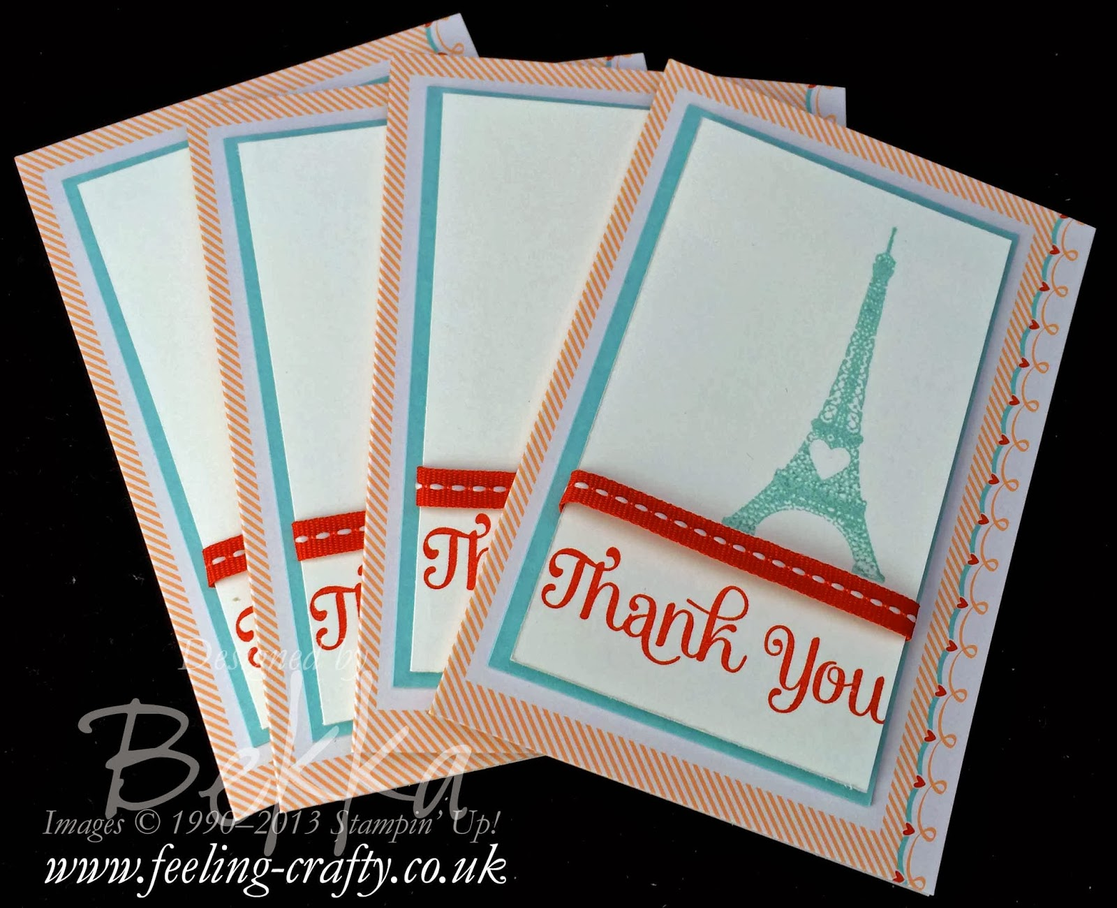 Follow Your Heart Sweet Sayings Thank You Cards by UK based Stampin' Up! Demonstrator Bekka Prideaux - check out her blog for lots of ideas