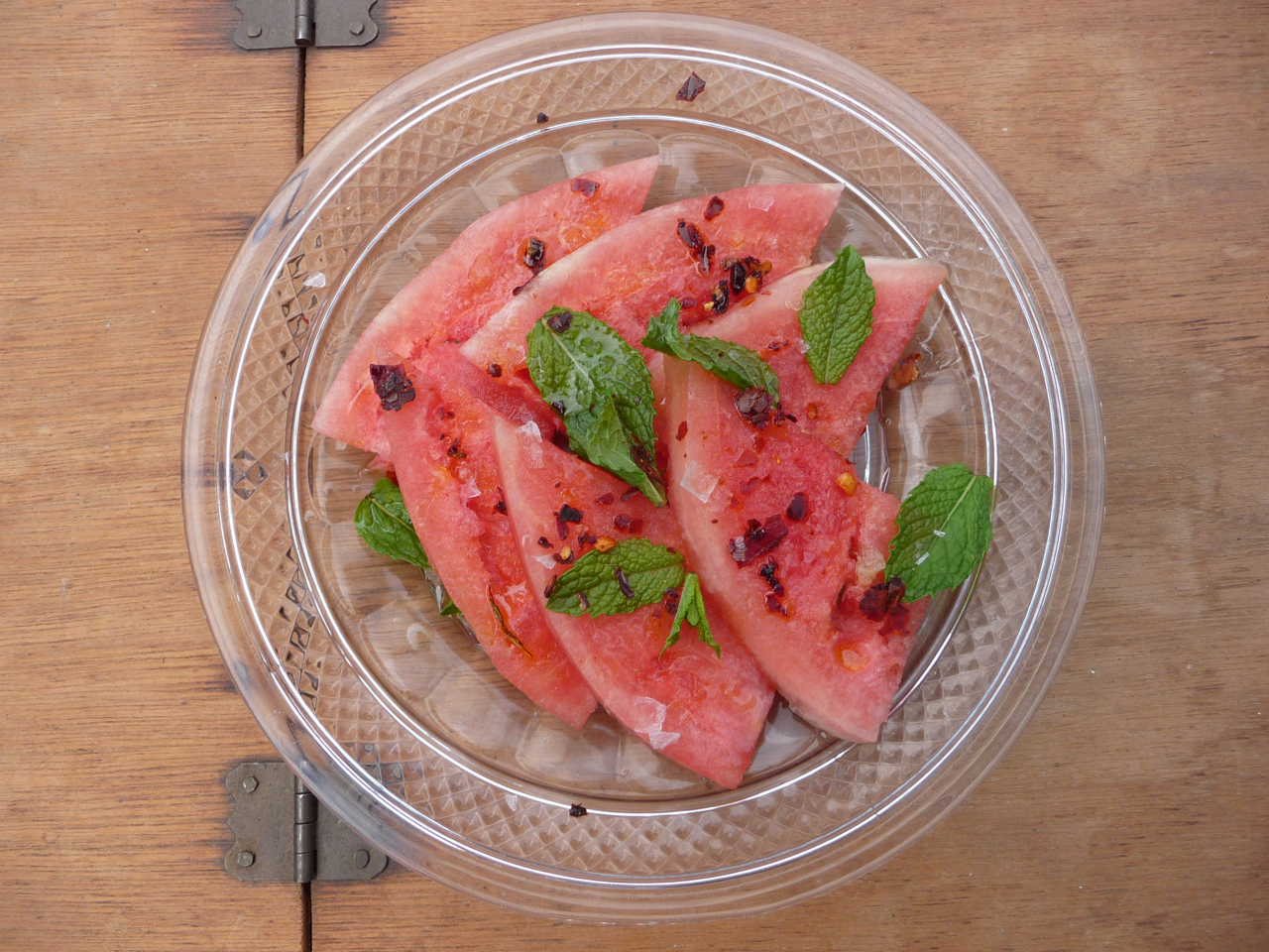 Watermelon, cut off of rind and thinly sliced