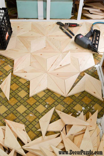 Geometric wooden flooring, unique flooring, creative flooring ideas, flooring options