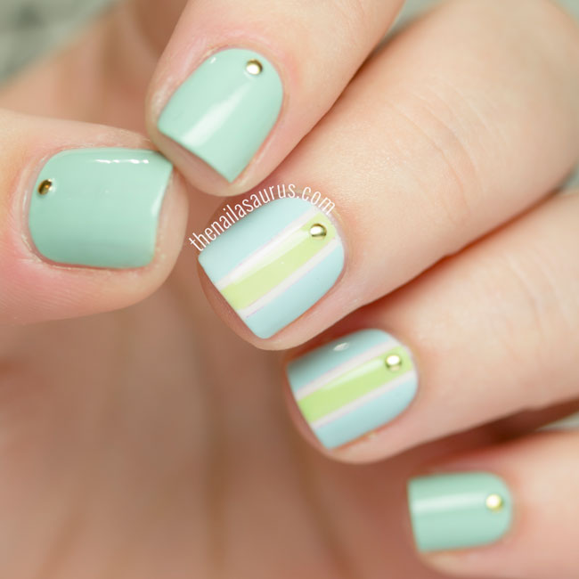 31DC2015: Green Nails with Stripes and Studs - The Nailasaurus | UK ...