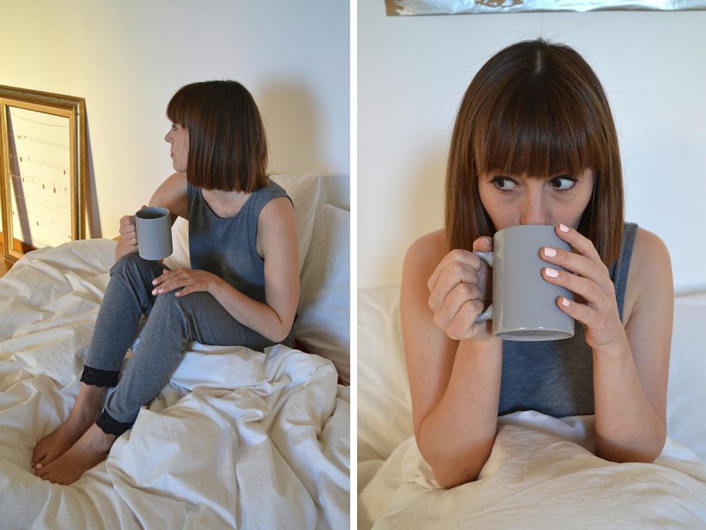 Waking up in ASOS lace trim pyjamas