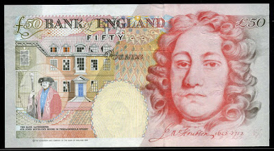 England 50 Pounds banknote bill