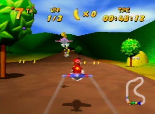 Diddy Kong flying in Nintendo 64 game Diddy Kong Racing