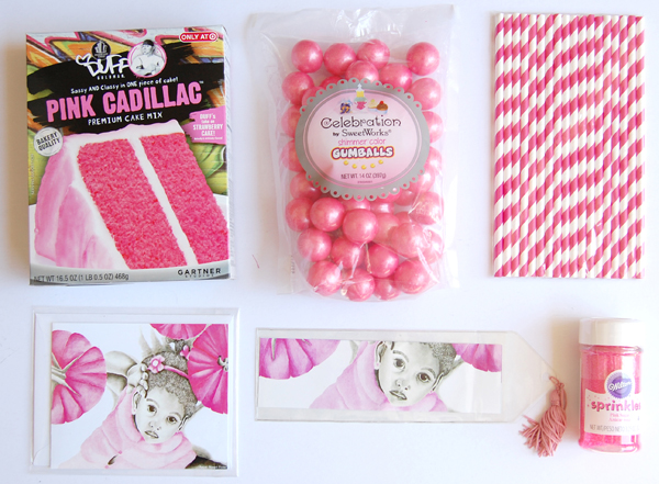 Pink cadillac cake mix, pink straws, pink cake sprinkles, pink gumdrops, pink girl 3 note card and bookmark from The True Colors Collection by Noami Foster