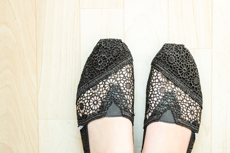 Shotique Black Crochet TOMS Top View