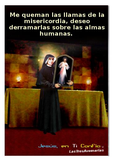 santa fautina y jesus misericordioso en el cuadro ue mando pintar