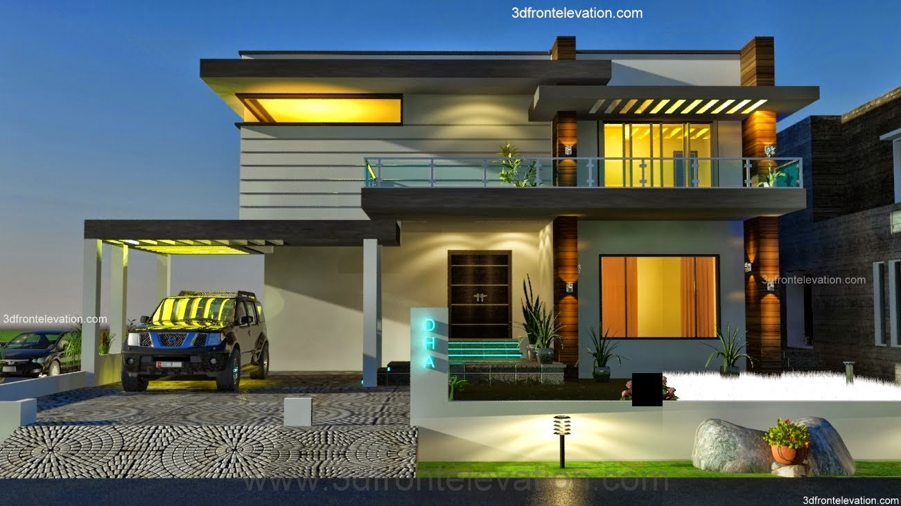 Front Elevation Contemporary : D front elevation kanal dha modern contemporary