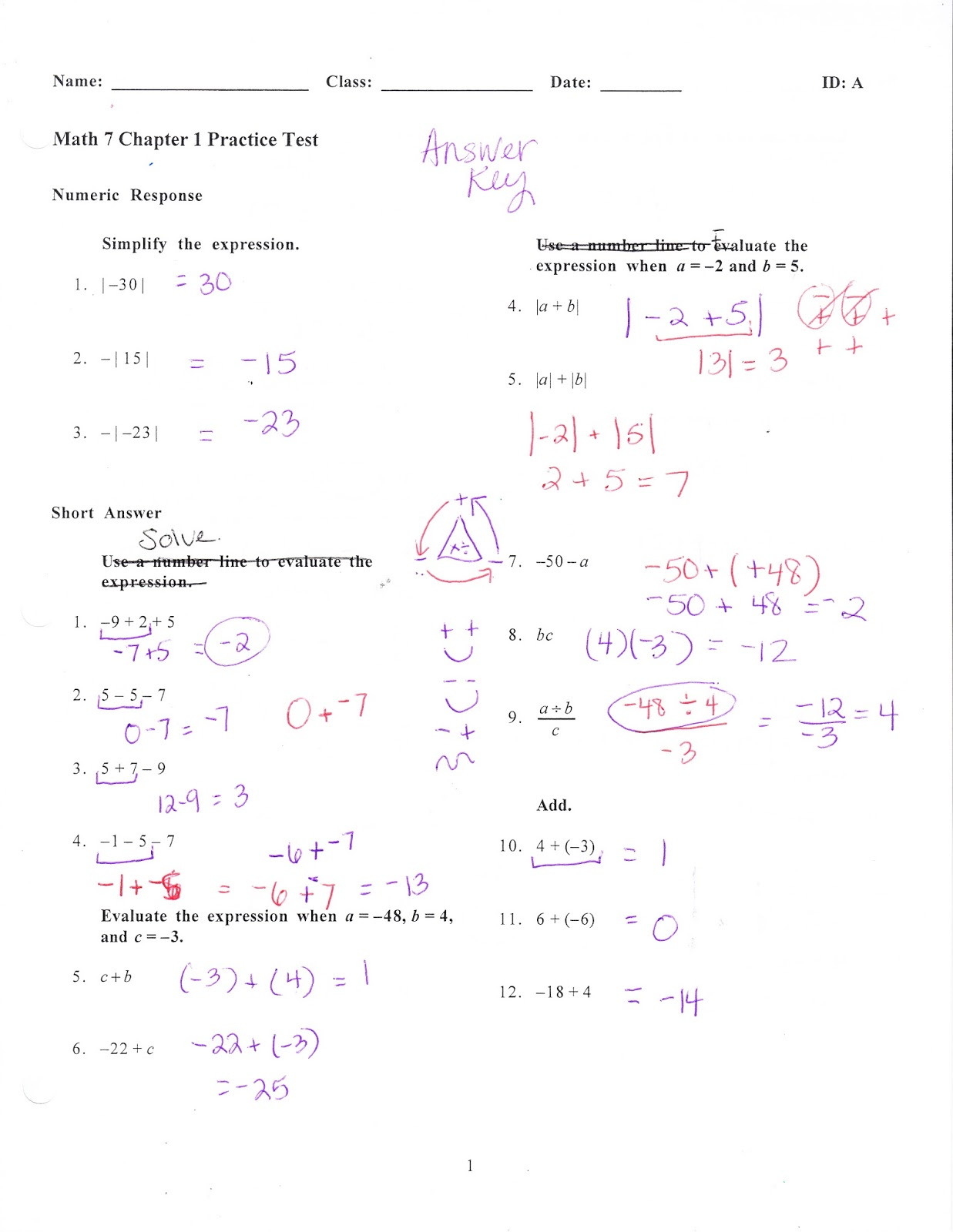 Practice Basic Math Test on Worksheets Worksheet Electrician Math
