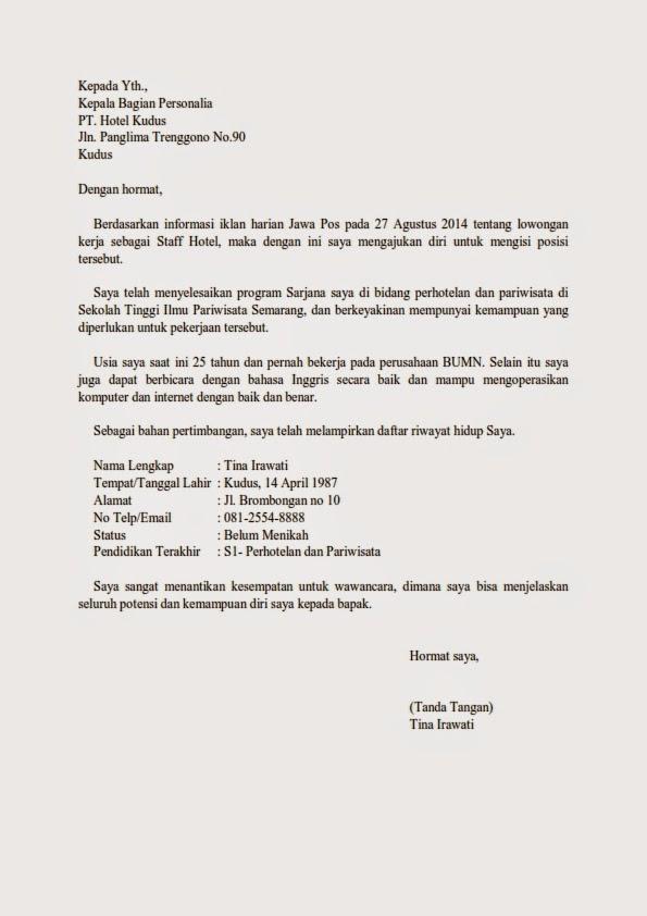 Contoh Surat Lamaran Kerja Hotel - Contoh U