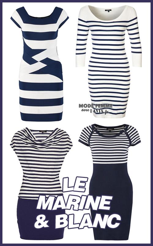 Robe courte marine et blanc style Riviera