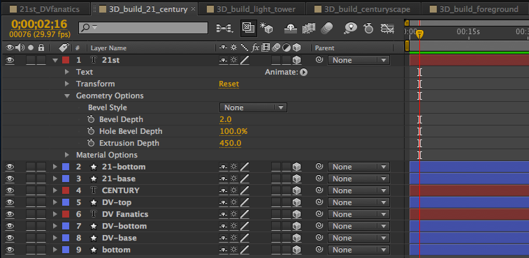 The timeline in Adobe After Effects showing the layers of the 3D_build_21_century comp.