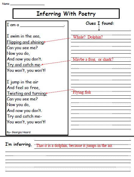 Free Worksheets inference worksheets 3rd grade : Jenniferu0026#39;s Teaching Tools: Inferring With Poetry